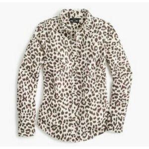 J. Crew Cotton-Linen Perfect Shirt in Leopard